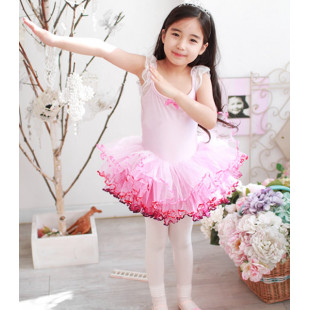 Pink Tutu Dress with Red Trim