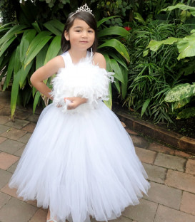 White Feather Flower Girl Dress